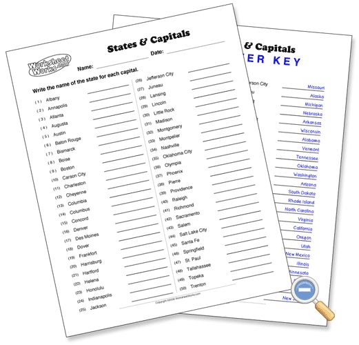 USA States And Capitals Worksheets Worksheets And - Map of the us worksheet capitals