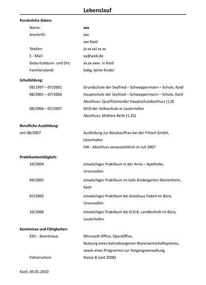Anschreiben Ausbildung Kauffrau Fur Marketingkommunikation Kauffrau Hauptschulabschluss Lebenslauf