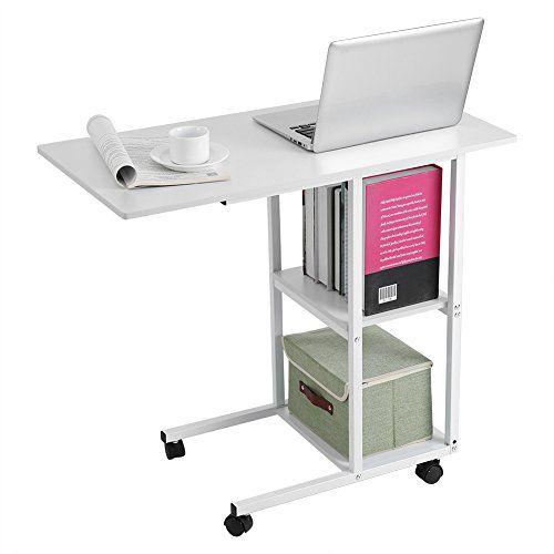 Mobile Standing Laptop Desk Height Adjustable Computer Work Station Stand Up Desk with Storage Wood Cocoarm Wooden Computer Desk