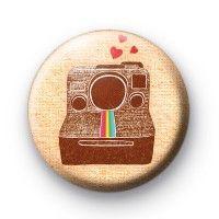 Classic Polaroid Camera Button Badge