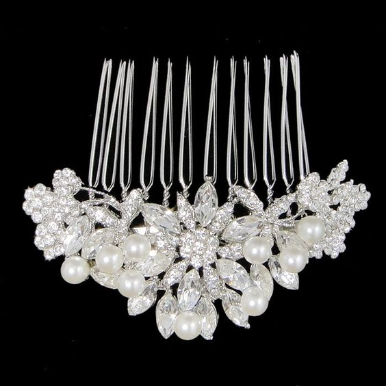 Vintage Inspired Swarovski Crystal, Bridal Flower Hair Accessories, Wedding Pearl Hair Comb, Clear Rhinestone Bridesmaid Gifts-118728548. $21.99, via Etsy.