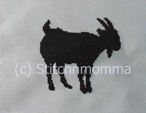 12004 Billy Goat Silhouette  Original Design Cross by stitchnmomma, $5.00