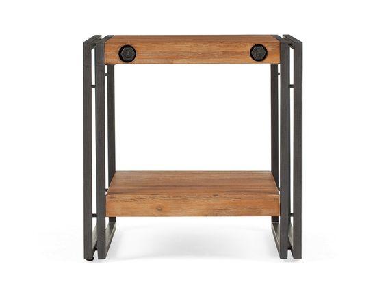 CETTA - Table d'appoint en bois d'acacia massif - Brun foncé