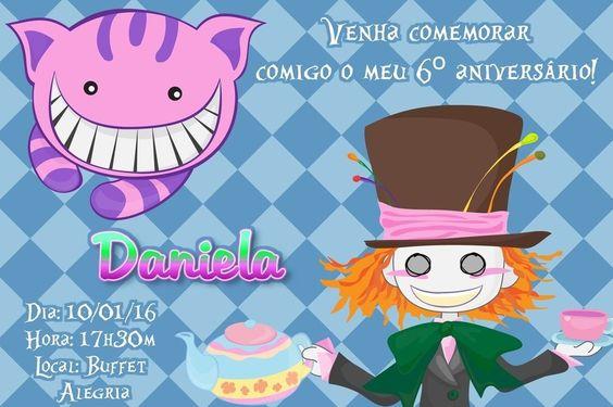 Convite digital personalizado Alice no país das maravilhas 010