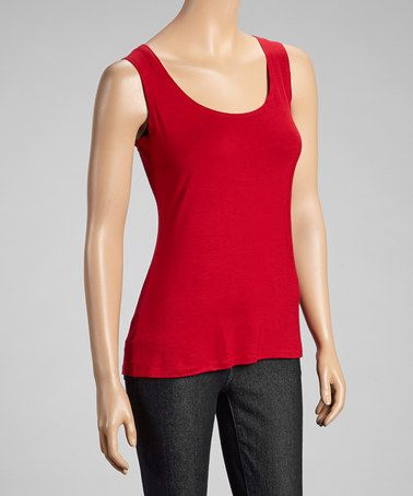 Take a look at this Red Scoop Neck Tank by Zoé Collection on #zulily today!
