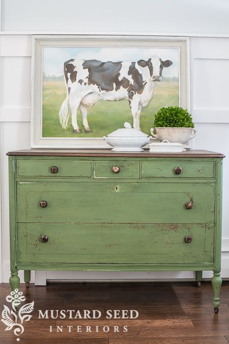 Most of my favorite pieces are blue, of course, but I love this dresser painted in Boxwood layered over Lucketts Green… favorite furniture of 2014 - Miss Mustard Seed