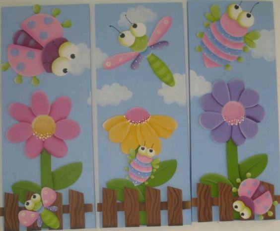 Cuadro realizado con goma eva primavera pinterest - Manualidades con cuadros ...