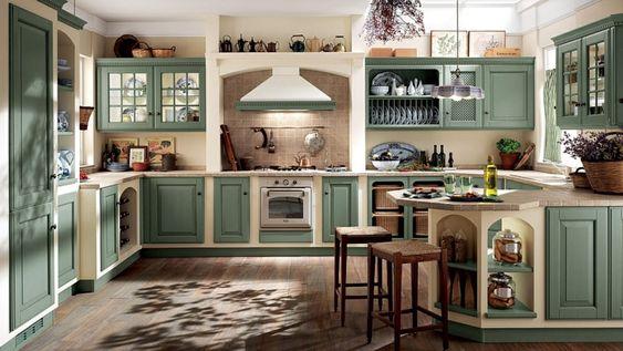 U-förmige Küche im Landhausstil mit Fliesenspiegel