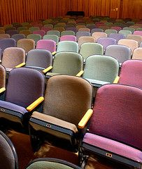 "Seating in the Ethical Society of St. Louis, MO -- ""[Harris Armstrong, the architect] worked with the congregation's building committee to select the fabric for the auditorium seating for the Ethical Society. How the selections were made and how the colors were distributed throughout the very controlled, axial, symmetrical space is rather marvelous."" -- via architectural ruminations -- Click through or see this photostream for much more…"