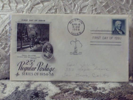 http://ajunkeeshoppe.blogspot.com/  First Day Issue / Cover - Stamp - Regular Postage 1958 25c 8ozP725B4HP1203