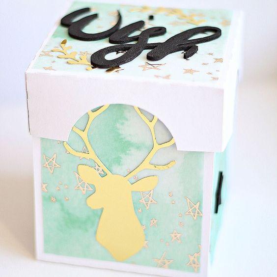 Eine kleine Explosionsbox ist mit dem tollen Sternenpapier und den Embellis aus dem Novemberkit der @scrapbookwerkstatt entstanden. #dtsbw #designteamsbw #scrapbookwerkstatt #scrapbooking #papercraft #craft #crafting #papercrafts #box #sbwkit #monatskit #monthlykit by oo_katja_oo
