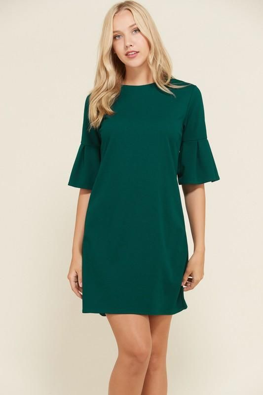 Ingrid This Is A Round Neck Solid S S Box Pleat Bell Sleeve Shift Dress With Side Bust Darts And Invisible Back Bell Sleeve Shift Dress Crepe Fabric Dresses