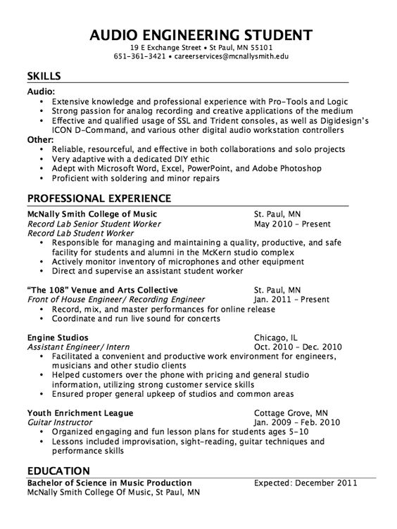 Audio Engineer Resume Sample - http\/\/resumesdesign\/audio - engineering internship resume sample