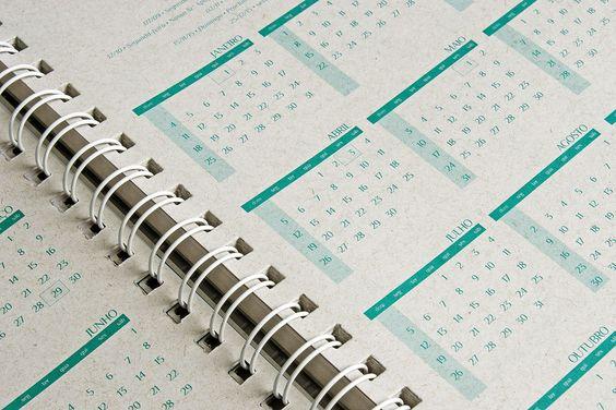Calendário e planejamento para cadernos e agendas. Desenvolvimento, Impressão, Acabamentos.