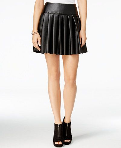 chelsea sky Pleated Faux-Leather Mini Skirt, Only at Macy's