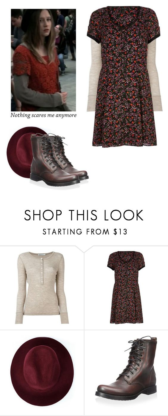 """Violet Harmon - ahs / american horror story"" by shadyannon ❤ liked on Polyvore featuring T By Alexander Wang, River Island, Redopin and Frye"