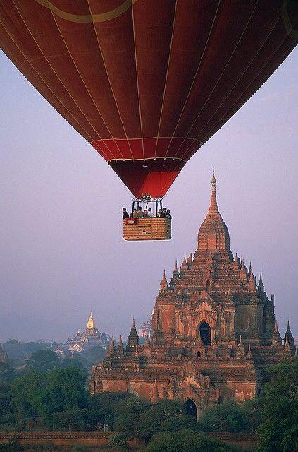 Hot air ballon ride over Bagan, Myanmar