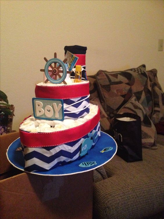My first boat diaper cake Baby diapers Pinterest Boat