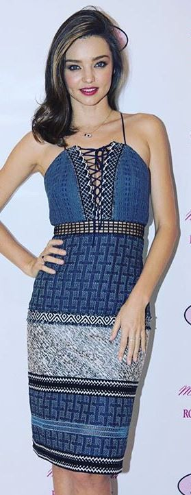 Who made Miranda Kerr's blue print lace up dress and jewelry?