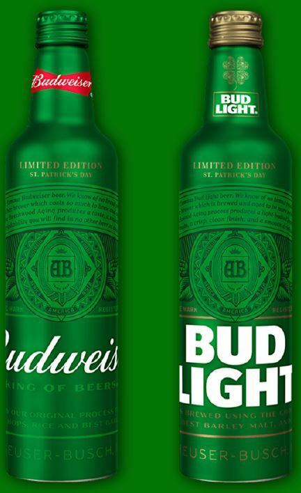 Image result for St Patrick's day limited edition bud light bottle