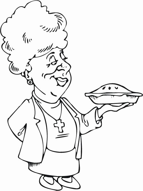 Coloring Book For Seniors Best Of Colouring Page Of A Senior Women Holding A Pie Coloring Books Kids Coloring Books Coloring Pages