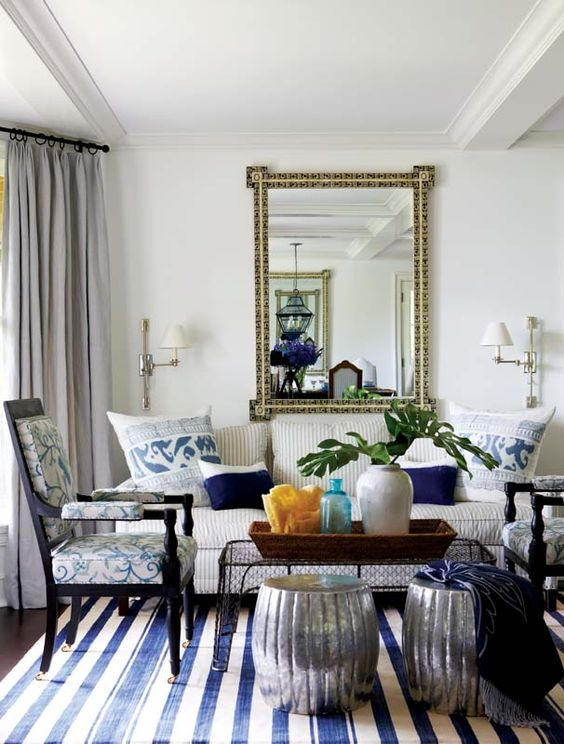 Madeline Weinrib Blue Vice Cotton Carpet, Interior design: Anne Miller, Photo: Michael Partenio, Via New England Home: