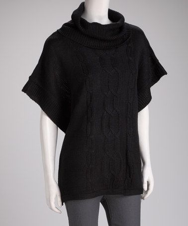 Take a look at this Black Cable-Knit Cape-Sleeve Sweater by Boulevard Apparel on #zulily today!