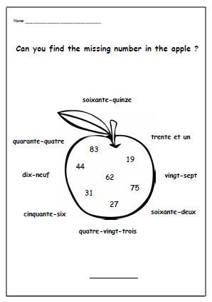 MISSING NUMBERFrench WorksheetPrimary Printable by YippeeLearning