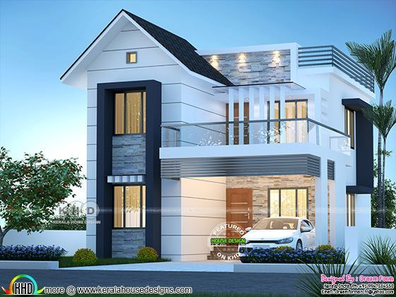 3 Bhk Mixed Roof Modern Home 1600 Square Feet In 2020 Two Story House Design House Roof Design Modern Exterior House Designs