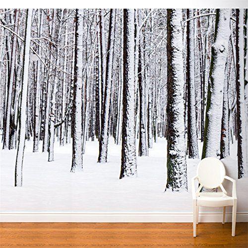 Fresk Line Fr016 Aajv5 White Forest Wallpaper Fresk Line Https Www Amazon Com Dp B00w9arfha Ref Cm Sw R Pi D Wall Murals Forest Wall Mural Snow Covered Trees