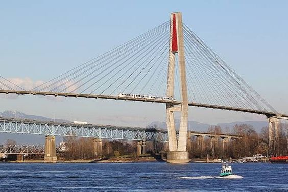 Skytrain over the Fraser River, Vancouver, Canada