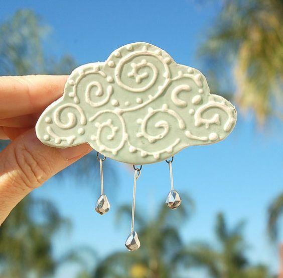 Rain cloud barrette by Dprintsclayful on Etsy, $15.98