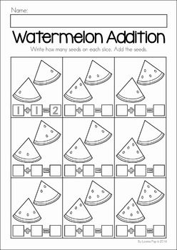 Summer Review Preschool No Prep Worksheets & Activities. Watermelon seed addition