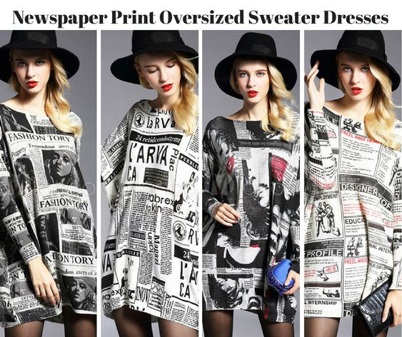 Oversized Newspaper Print City Sweater Dresses