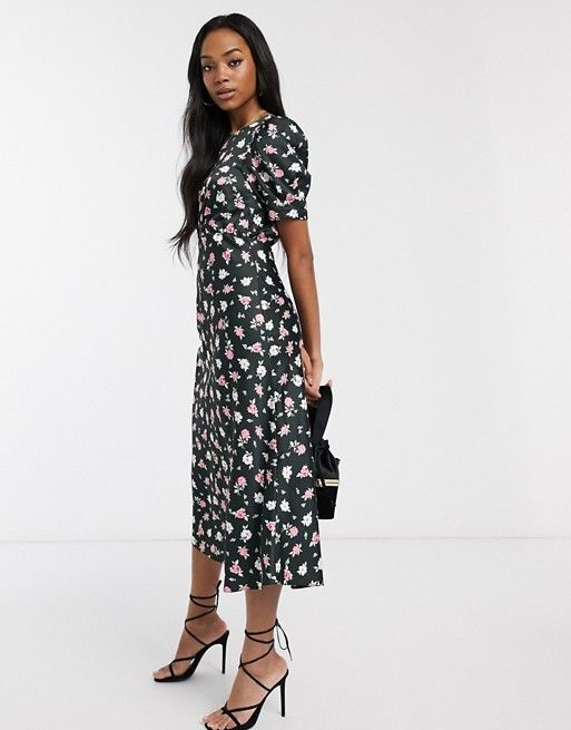 Asos Design Midi Tea Dress In Black Ditsy Floral Print Asos In 2020 Women Dress Sale Tea Dress Dresses