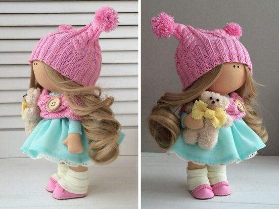 Ручной куклы ткани кукла Текстильная кукла AnnKirillartPlace: