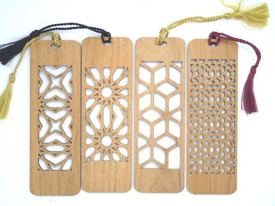 4 Custom Laser Cut Wooden Bookmark  All Four por RedcoIndustries