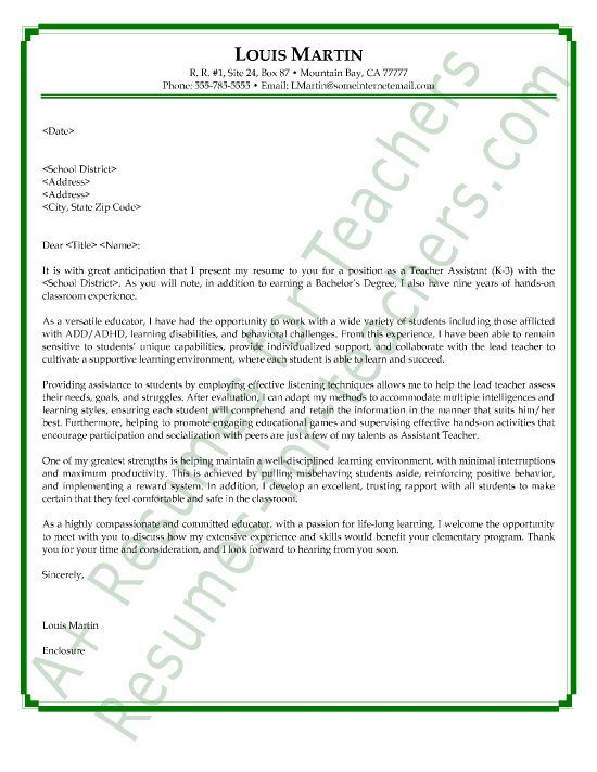 Teacheru0027s Aide Cover Letter Sample u2026 Pinterest - cover letter for teaching assistant