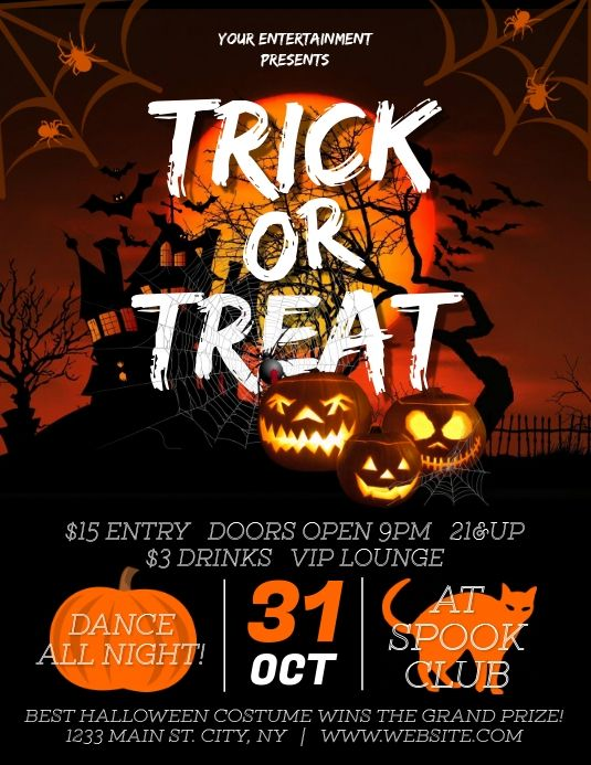 Halloween Trick Or Treat Party Halloween Party Flyer Halloween Flyer Halloween Hacks Halloween party flyer templates