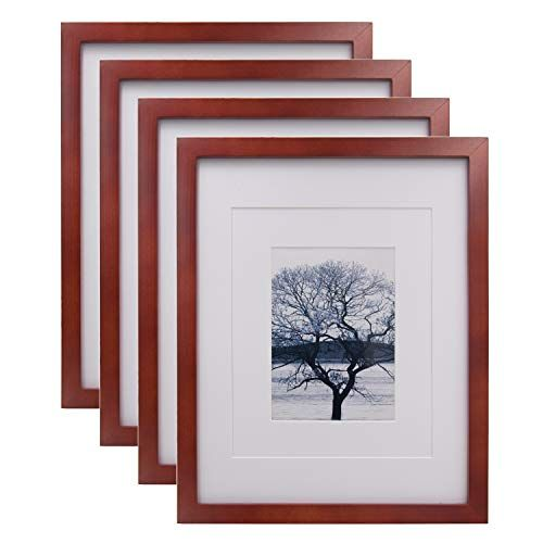Egofine 11x14 Picture Frames 4 Pack Display Pictures 5x7 8x10 With Mat Or 11x14 Without Mat Made Of Solid Wo In 2020 11x14 Picture Frame Picture Display Picture Frames
