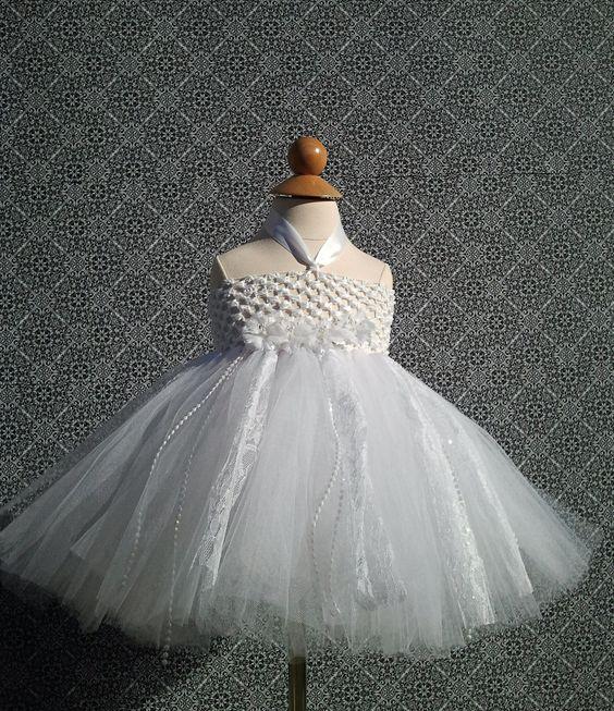 White Tutu Dress- Infant Tutu- Baby Tutu Dress- Baby Tutu- Flower ...