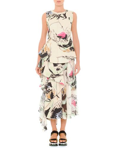 Marni Abstract Printed Top & Skirt with Side Flounce #marni #womensapparel See detail at http://zingxoom.com/d/cwHHJ7W0