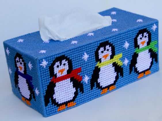 Penguin Tissue Box Cover by cecrafts on Etsy, $12.75