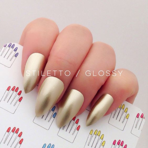 Chrome Gold Hand Painted Nail Tips / Press On / Stick On / Fake Nails - Stiletto, Oval or Short Squoval - Glossy or Matte by 31313 on Etsy