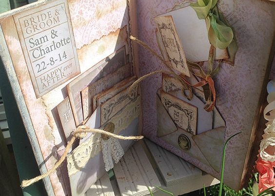 Shabby chic Wedding Guest Book peach and by youruniquescrapbook