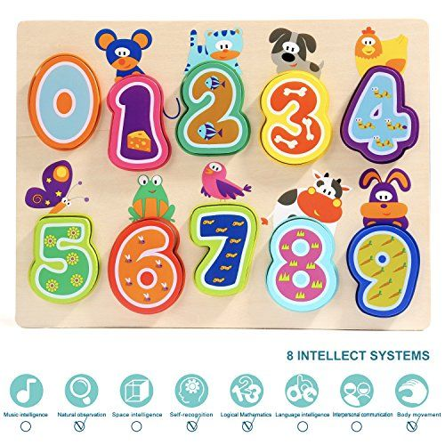 Wooden Number Puzzles for 1 Year Old Girl /& Boy Gifts Learning Toys for Toddlers