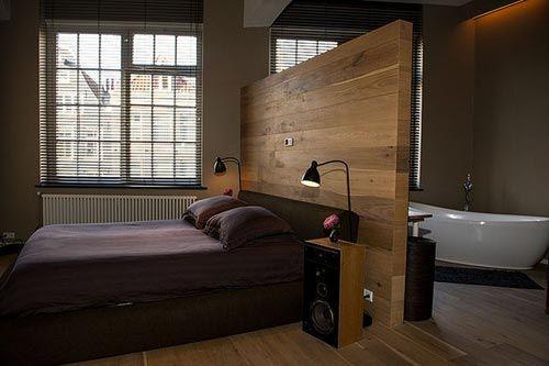 Slaapkamer met badkamer Amsterdamse loft  Interieur inrichting  B&B ...