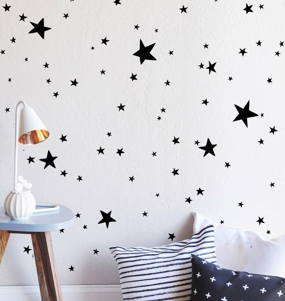 "100 stars ranging in sizes from .5""-4.5"" Fully removable and reusable wall…"