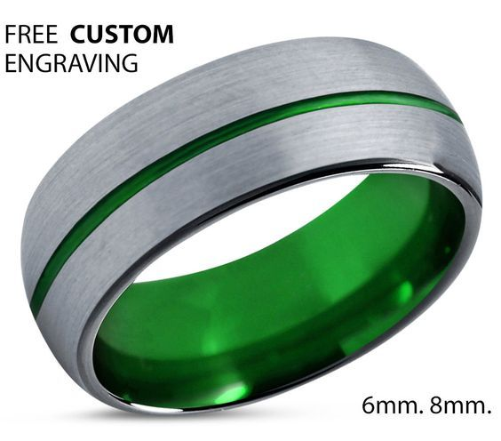 Mens Wedding Band Green Brushed Silver Wedding Ring Tungsten Ring 8mm Personalized Ring Engagement Ring Promise Ring Gifts For Him Cool Wedding Rings Mens Wedding Rings Wedding Ring For Him