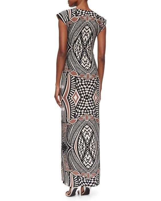 Graphic-Print Bateau-Neck Long Dress, Black Sand